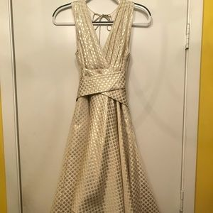 Eva Franco gold/cream Hi-lo dress